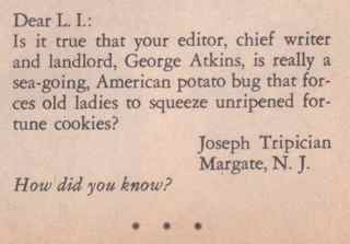 Joe Letter to Laugh-In Magazine - 1969